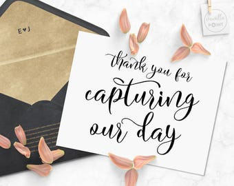Thank You For Capturing Our Day, Printable Thank You Photographer Card, wedding Gift Ideas, Wedding Thank You Card For Wedding Photographer