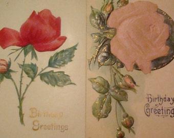 SALE 2 Vintage Rose Applique Postcards