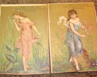 2 Nice Victorian Scrap Advertising Cards (Pretty Ladies)