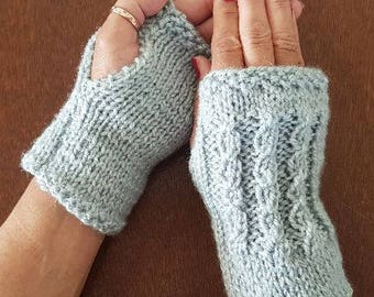 Gray Fingerless Mitts