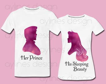 Sleeping Beauty and Prince His and Hers Disney Print for Couple, Wedding, Princess Shirts,  Aurora. Printable PDF PNG JPG by aylines