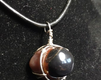 Natural Polished 'Shiva Eye' Eye Agate Pendant, Protection stone, Third Eye, Meditation stone, Evil Eye protection, God Pendant