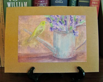 Yellow Warbler and Watering Can card -- sold in sets of 5 -- envelopes included