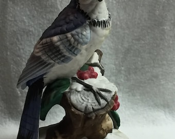 J Byron Porcelain Blue Jay with Red Berries and Snow (#039)