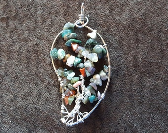 Wire-Wrapped Tree of Life Pendant with Fancy Jasper leaves (large)