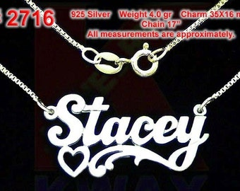 STACEY Personalized Name Sterling Silver Custom Necklace 925