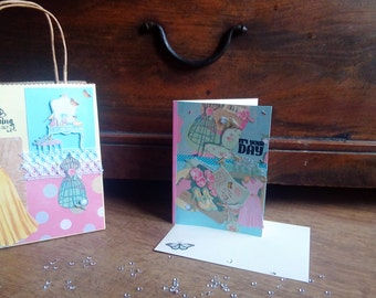 Birthday card and birthday gift bag vintage style mum sister friend niece aunt nanny pink blue yellow