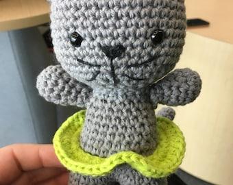 Crochet cat with tutu
