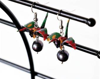 Origami Earrings Paper Crane with Black Freshwater Pearl