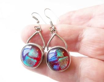 Hippie Tie Dye Earrings, 1970s Bohemian, Hallmarked 925, Gift For Women, Pierced, Statement Earrings, Valentine Gift, PreLovedJewelryFinds