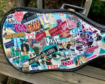 Acoustic Guitar Case Art - Upcycled - Decoupage - Magazine Clippings - Music