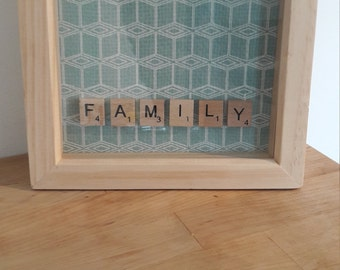 Family scrabble natural wood peg photo frame