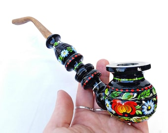 Smoking pipe, Handpainted pipe, Tobacco pipe, Original wooden pipe, Carved pipe, Wooden pipe, Smoking accessories, Black pipe, Peace-pipe