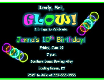 glow party black light party glow in the dark birthday party invitation bday - Black Light Party Invitations