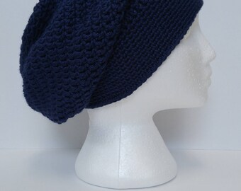 Long slouchy beanie, Navy, Crochet beanie, Ready to ship, Soft beanie, toque, winter hat, gift for her, slouch beanie, teen gift, headgear