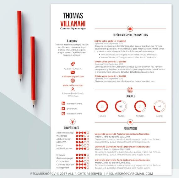 3 cv    curriculum vitae professionnel moderne et graphique