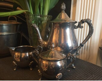 Silver Plate Tea Service. Props. Art Noveau Gothic Style Tea Set. Silver plate EPNS tea service.