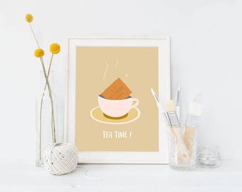 Tea time poster, biscuits, cup of tea, afternoon tea, tea wall art, cup of tea print, french biscuit, printable, instant download