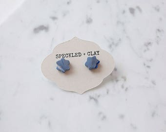 Frosted blue, silver, and white flower shaped earrings