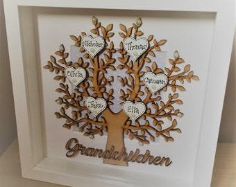 Handmade Personalised Grandchildren Wooden Tree, Mothers Day, Mum Gift, Birthday Gift, Grandparents, Christmas Gift
