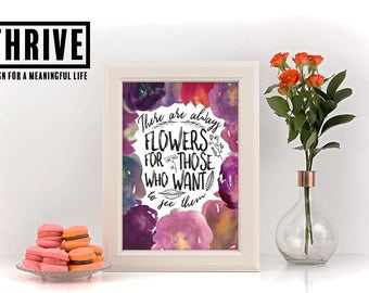 Printable wall art. Instant download. Floral wall art. Spring wall decor.