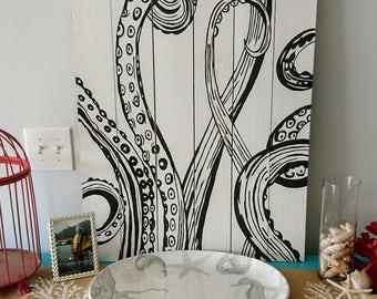 Octopus Painting, Octopus wall art, Nautical art, Octopus Wall Hanging, Ocean art, Coastal decor