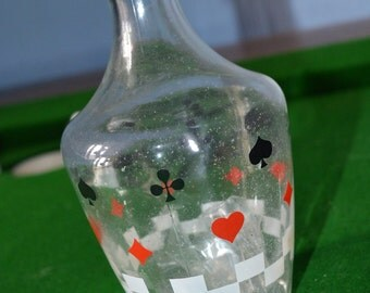1950s/60s French decanter, playing card symbols