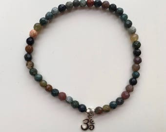 Indian Agate faceted 4mm beads bracelet with Silver Sterling Om charm