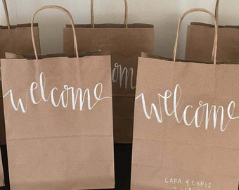 Custom Welcome Gift Bags*Wedding Welcome Gift Bags*Destination Wedding*Handwritten Custom Gift Bag*Calligraphy
