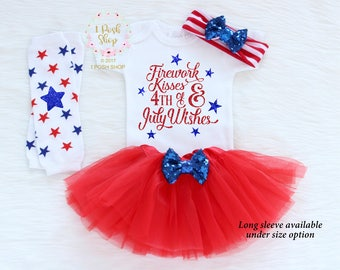 4th of July Baby Girl Outfit, 1st Fourth of July Baby Girl Outfit, Red Blue Newborn Outfit, My First 4th Outfit Gift, 4th July Bow HJ11