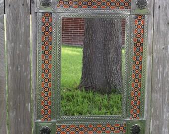 """Talavera Rectangle Tin Mirror 33"""" x 25"""" Handmade Home Decor Mexican Talavera Ceramic Tile"""