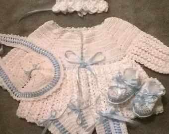 Baby crochet jacket set