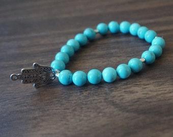 Teal & Hamsa Hand Charm Bracelet