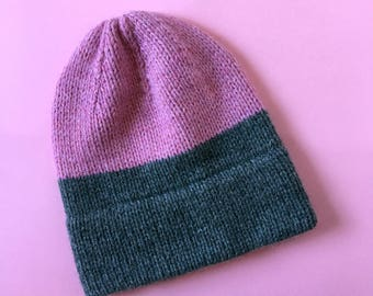 Two Tone Color Block Knit Hat in Pink and Grey