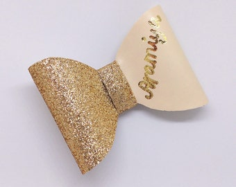 Gold Glitter and Beige, Baby, Toddler, Child Hair Bow — Personalised