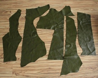 Free Shipping Dark Green Italian leather 5 Big Pieces Scrap Best Quality for Handcrafts