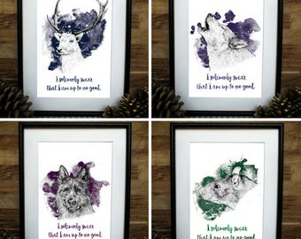 Harry Potter Inspired Marauders A4 Print Set: Moonie, Wormtail, Padfoot and Prongs