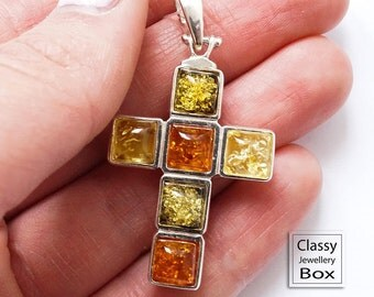 Sterling Silver Three Colour Natural Baltic Amber Cross Pendant, multicolor baltic amber, amber jewelry, amber pendant, unique, gift