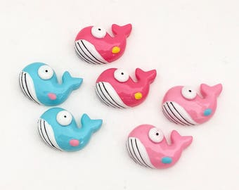 Whale Cabochons (6 pcs) Kawaii Cabochons Cute Resin Flat Back Cell Phone Deco