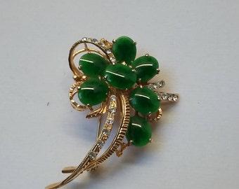gold tone green glass pin