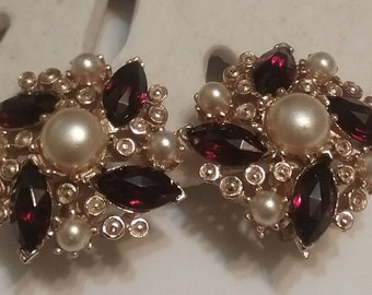 gold tone red and pearl earrings