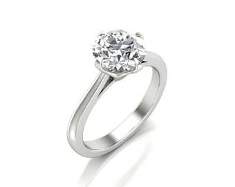 1.50 Carat Moissanite Round Cut Engagement Ring - Forever One Moissanite Engagement Ring - Charles & Colvard 7.5mm Moissanite Solitaire Ring