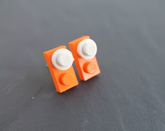 Orange and White Stud Earrings