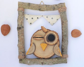 Raw/OWL OWL/child/color nature/rustic country room wood frame wall decor/rectangle / ecru cotton flag with polka dots