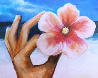 Acrylic Painting on Canvas - Holding Flower on the Beach, Summer, Vacation