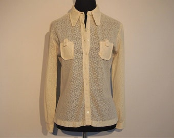 Vintage 1970's Blouse; Lace Top