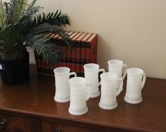 Antique Vintage Milk Glass Mugs  Set of 6