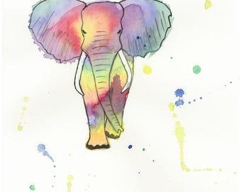 8 X 10 Elephant Art Print   Wildlife Original Art   Nursery Room Wall Decor   Kid's Room Decor   Baby Room Art   Rainbow Animal Art