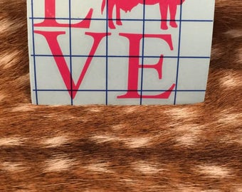 Hot Pink Cow Love Decal