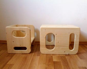 Montessori Cube Chair Set - 1 large, 1 small